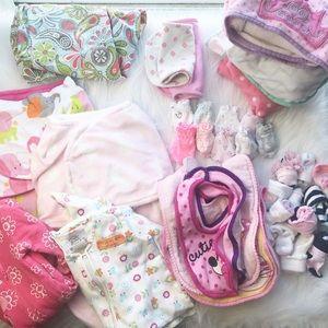48 pc newborn girl  baby LOT of NECESSITIES
